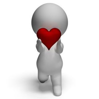 Personaje en 3D con un corazón en la mano